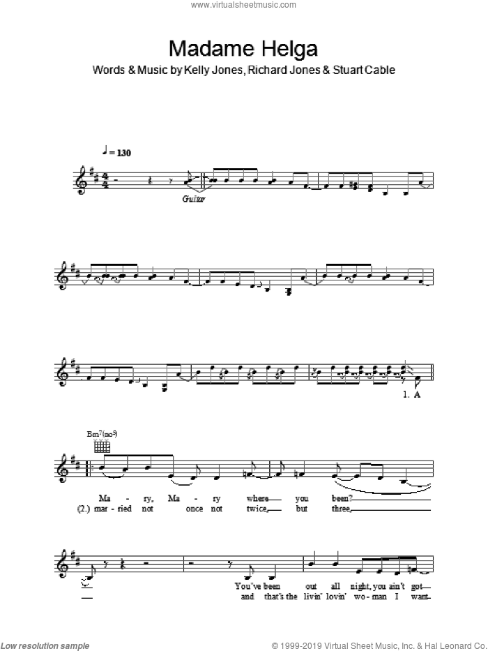 Madame Helga sheet music for voice and other instruments (fake book) by Kelly Jones, Stereophonics, Richard Jones and Stuart Cable. Score Image Preview.
