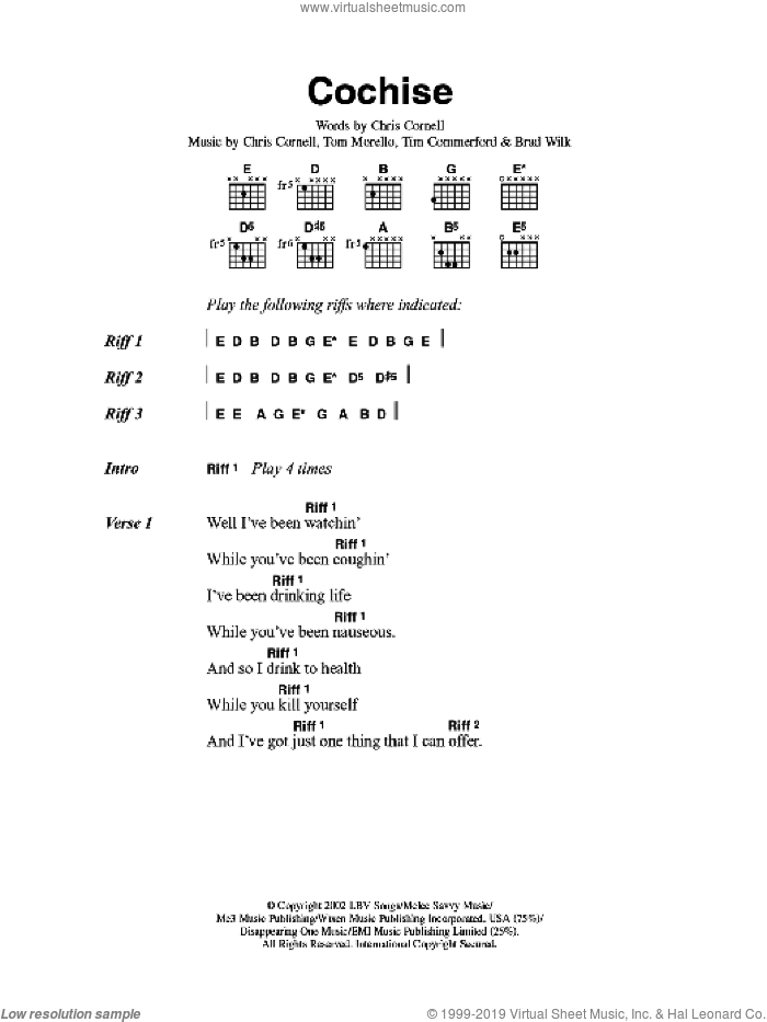 Cochise sheet music for guitar solo (chords, lyrics, melody) by Brad Wilk