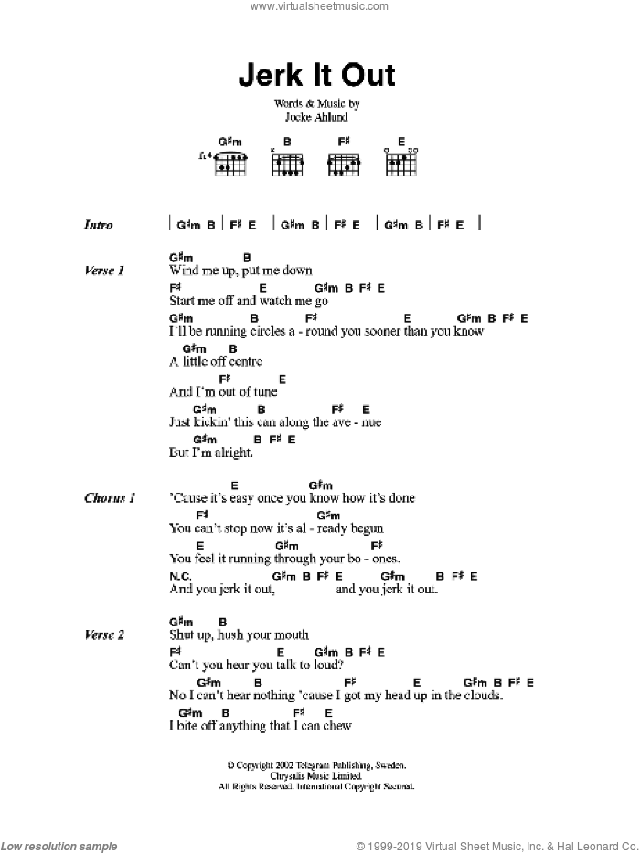 Jerk It Out sheet music for guitar (chords) by The Caesars. Score Image Preview.