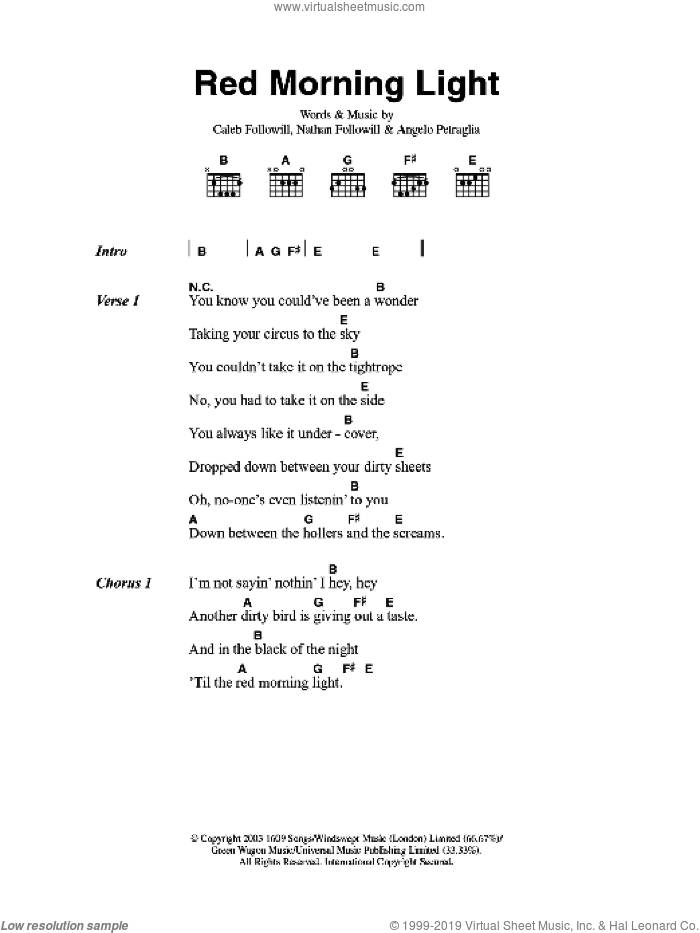 Red Morning Light sheet music for guitar (chords, lyrics, melody) by Angelo Petraglia