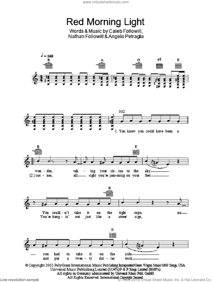Red Morning Light sheet music for voice and other instruments (fake book) by Kings Of Leon, Angelo Petraglia, Caleb Followill and Nathan Followill, intermediate. Score Image Preview.