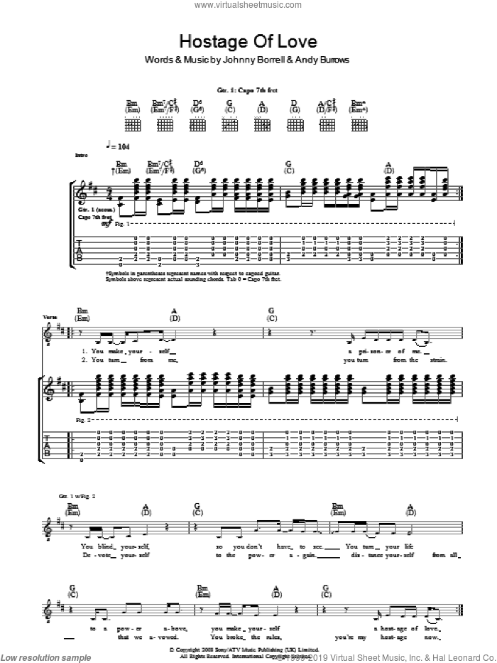 Hostage Of Love sheet music for guitar (tablature) by Razorlight, Andy Burrows and Johnny Borrell, intermediate