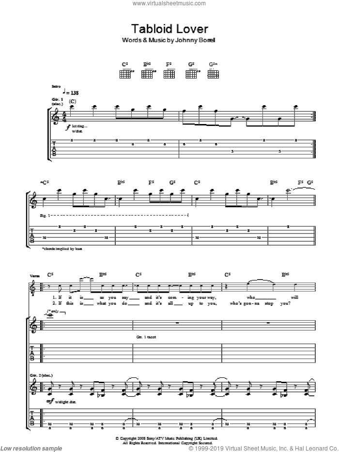 Tabloid Lover sheet music for guitar (tablature) by Johnny Borrell. Score Image Preview.