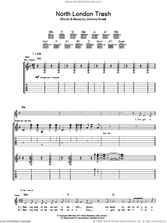 North London Trash sheet music for guitar (tablature) by Razorlight. Score Image Preview.