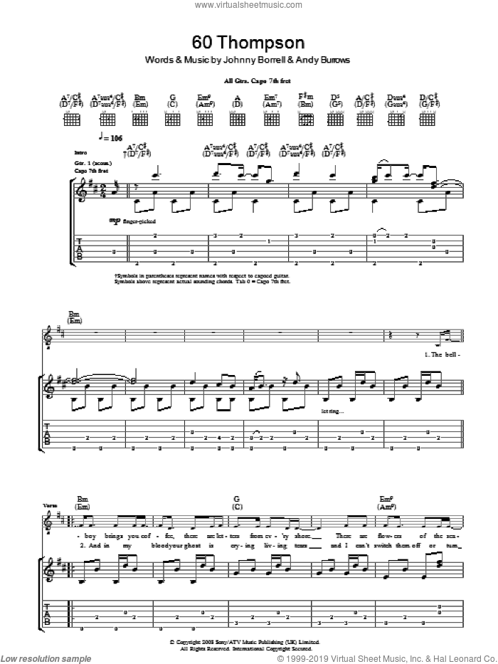60 Thompson sheet music for guitar (tablature) by Razorlight and Andy Burrows, intermediate guitar (tablature). Score Image Preview.