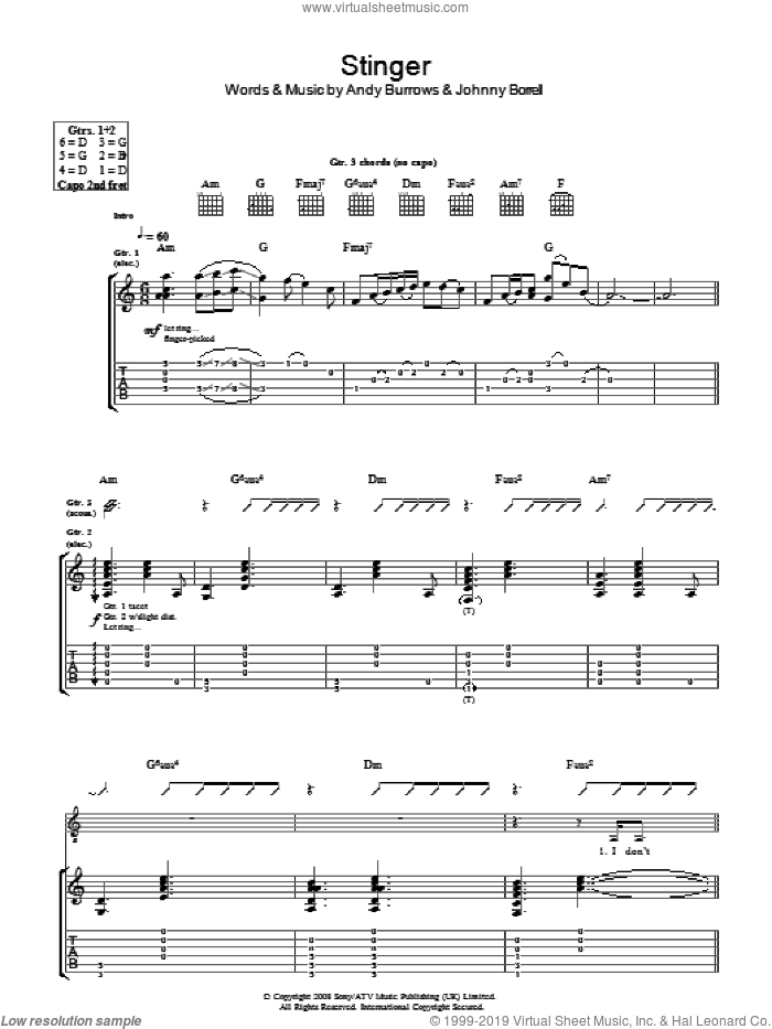 Stinger sheet music for guitar (tablature) by Andy Burrows