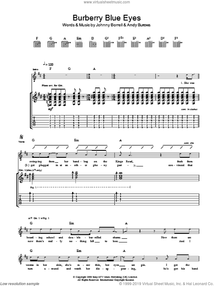 Burberry Blue Eyes sheet music for guitar (tablature) by Andy Burrows and Johnny Borrell. Score Image Preview.