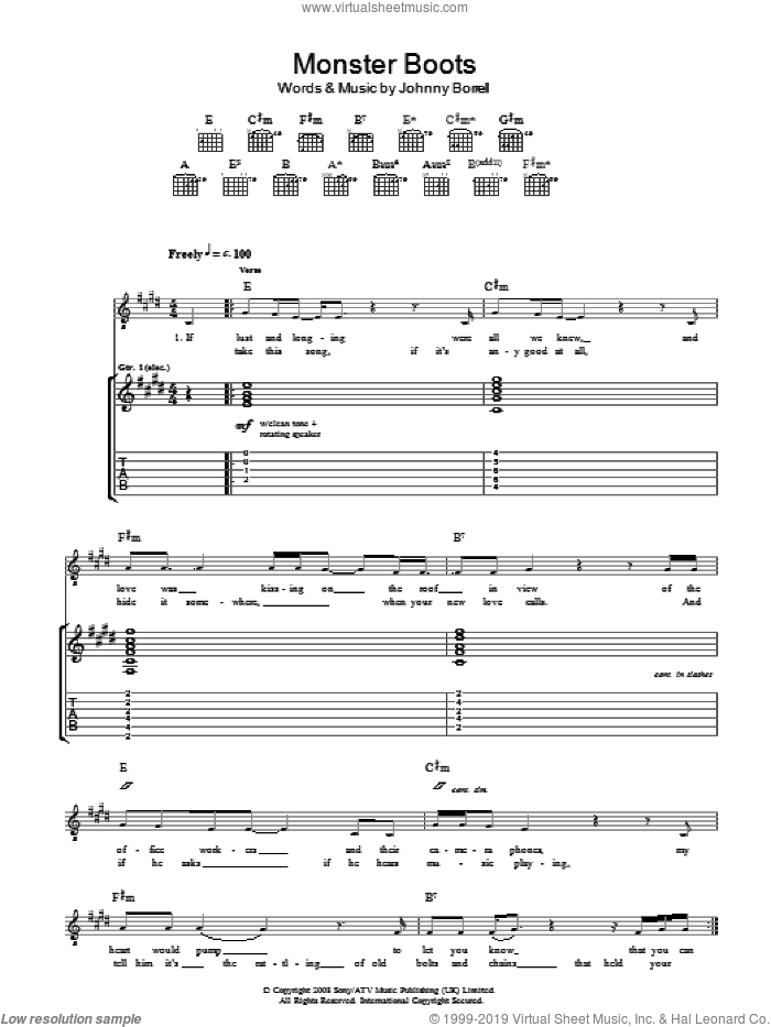 Monster Boots sheet music for guitar (tablature) by Johnny Borrell. Score Image Preview.