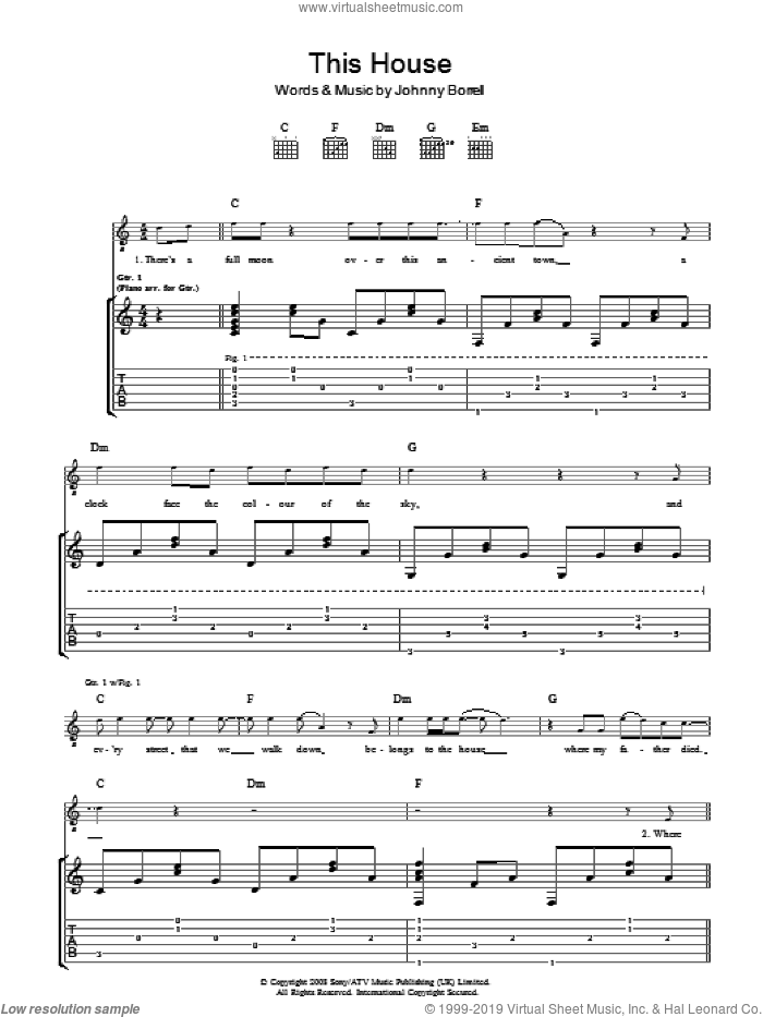 The House sheet music for guitar (tablature) by Johnny Borrell