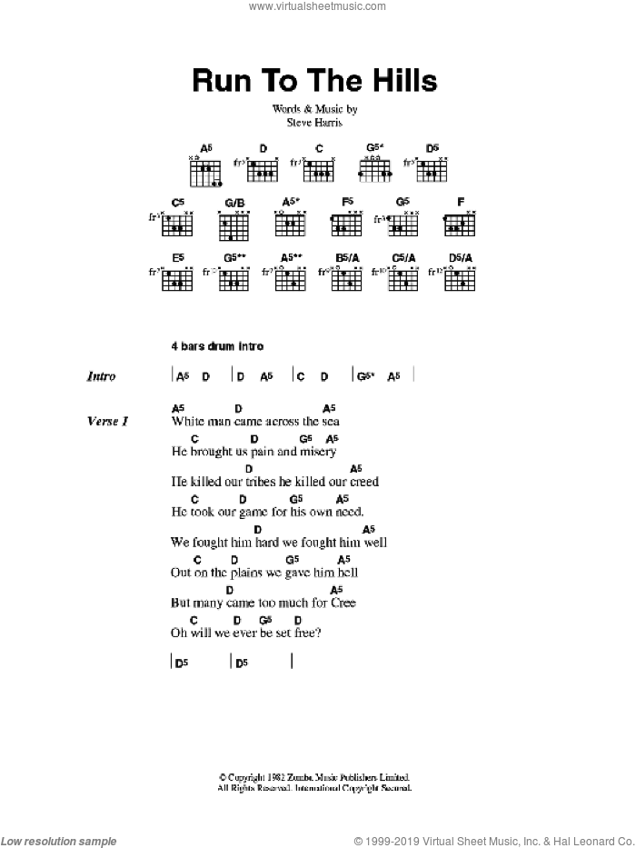 Run To The Hills sheet music for guitar (chords) by Steve Harris and Iron Maiden. Score Image Preview.