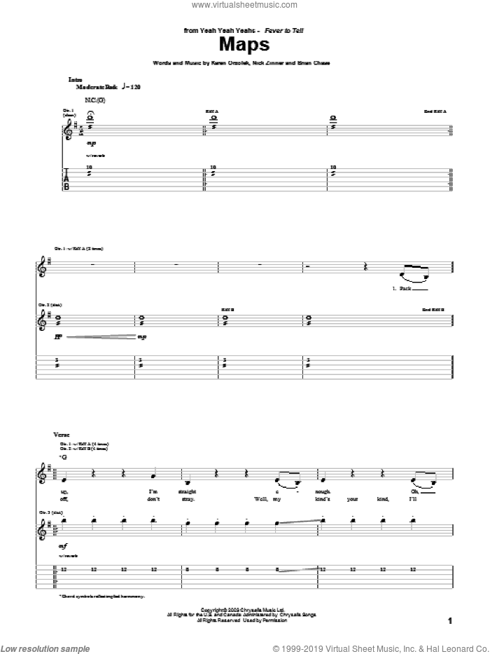 Maps sheet music for guitar (tablature) by Yeah Yeah Yeahs, Brian Chase, Karen Orzolek and Nick Zinner, intermediate skill level