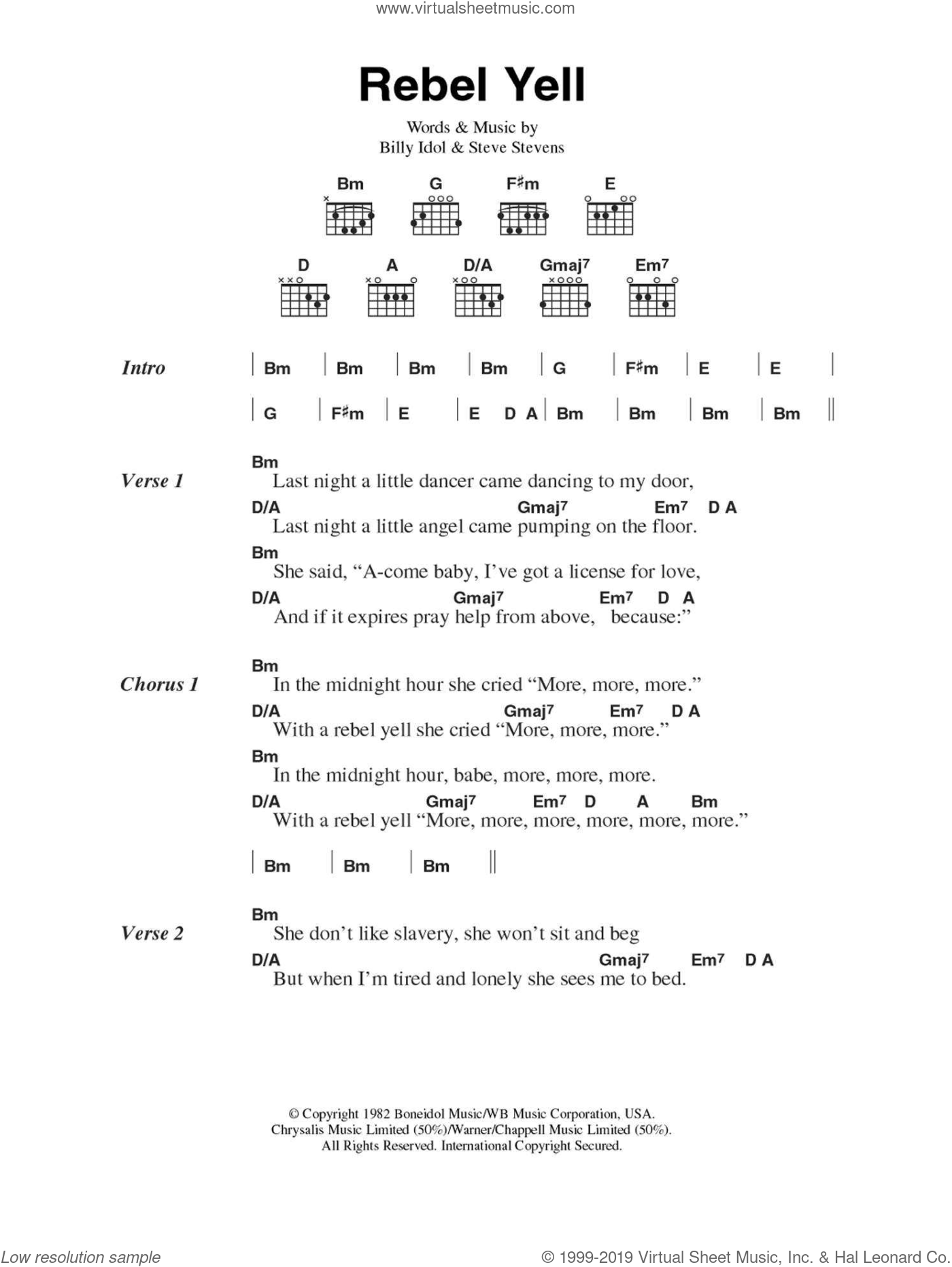 Rebel Yell sheet music for guitar (chords) by Billy Idol and Steve Stevens, intermediate guitar (chords). Score Image Preview.