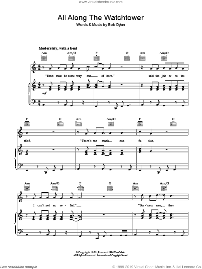 All Along The Watchtower sheet music for voice, piano or guitar by Bob Dylan, intermediate skill level