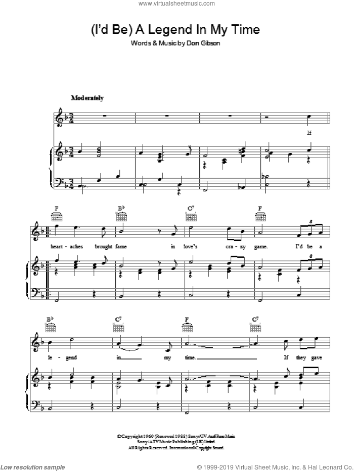 (I'd Be) A Legend In My Time sheet music for voice, piano or guitar by Don Gibson and Sammy Davis, Jr., intermediate skill level