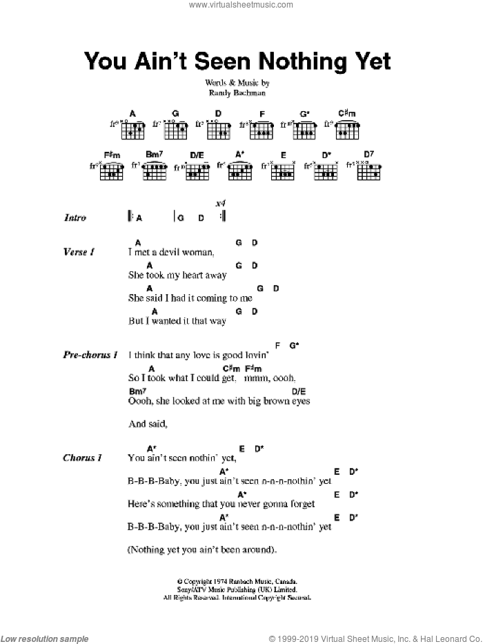 You Ain't Seen Nothing Yet sheet music for guitar (chords) by Bachman-Turner Overdrive and Randy Bachman, intermediate