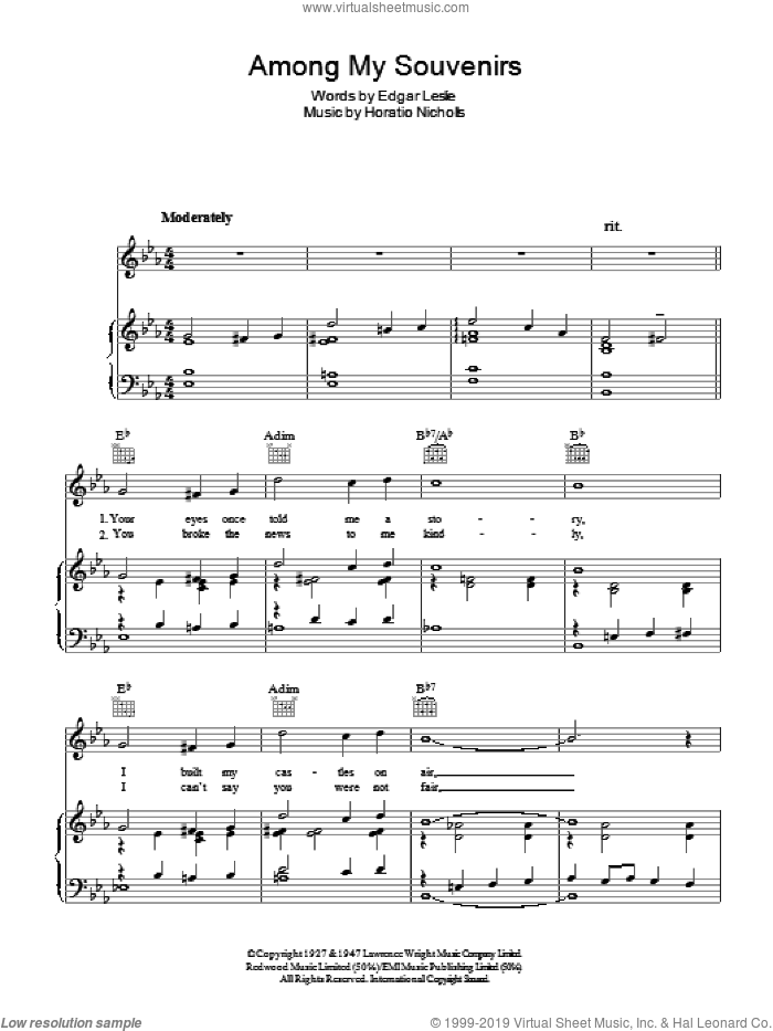 Among My Souvenirs sheet music for voice, piano or guitar by Horatio Nicholls
