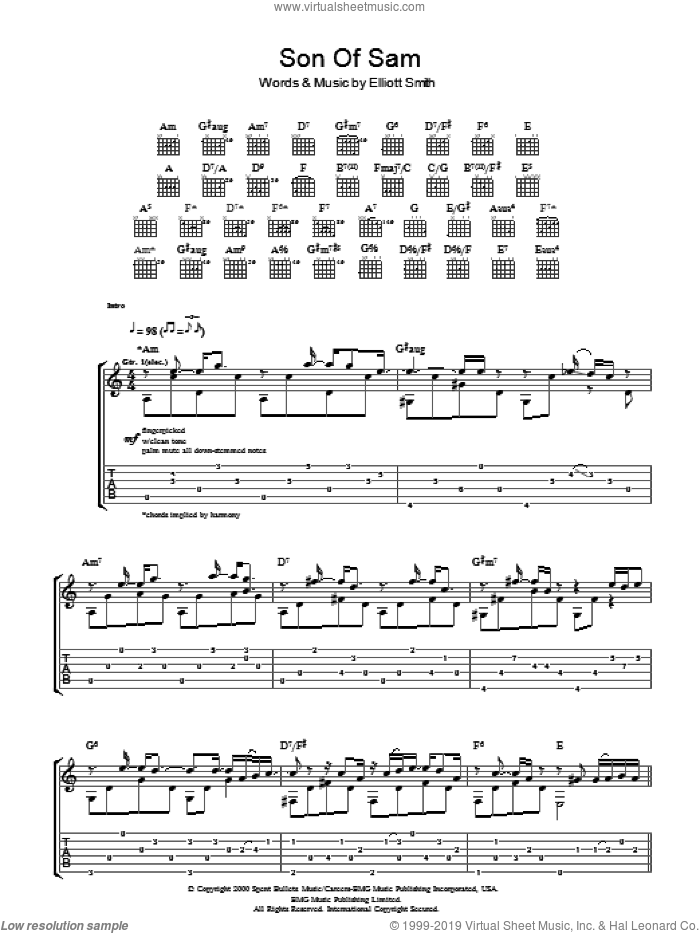 Son Of Sam sheet music for guitar (tablature) by Elliott Smith. Score Image Preview.
