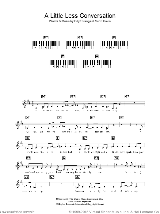 A Little Less Conversation sheet music for piano solo (chords, lyrics, melody) by Scott Davis