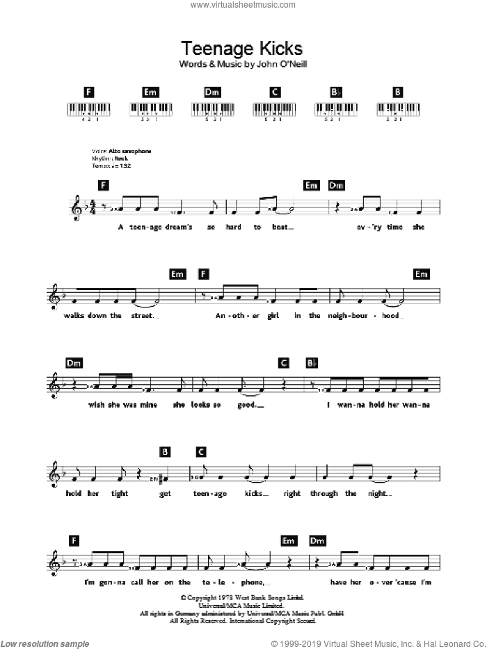 Undertones - Teenage Kicks sheet music for piano solo (chords ...