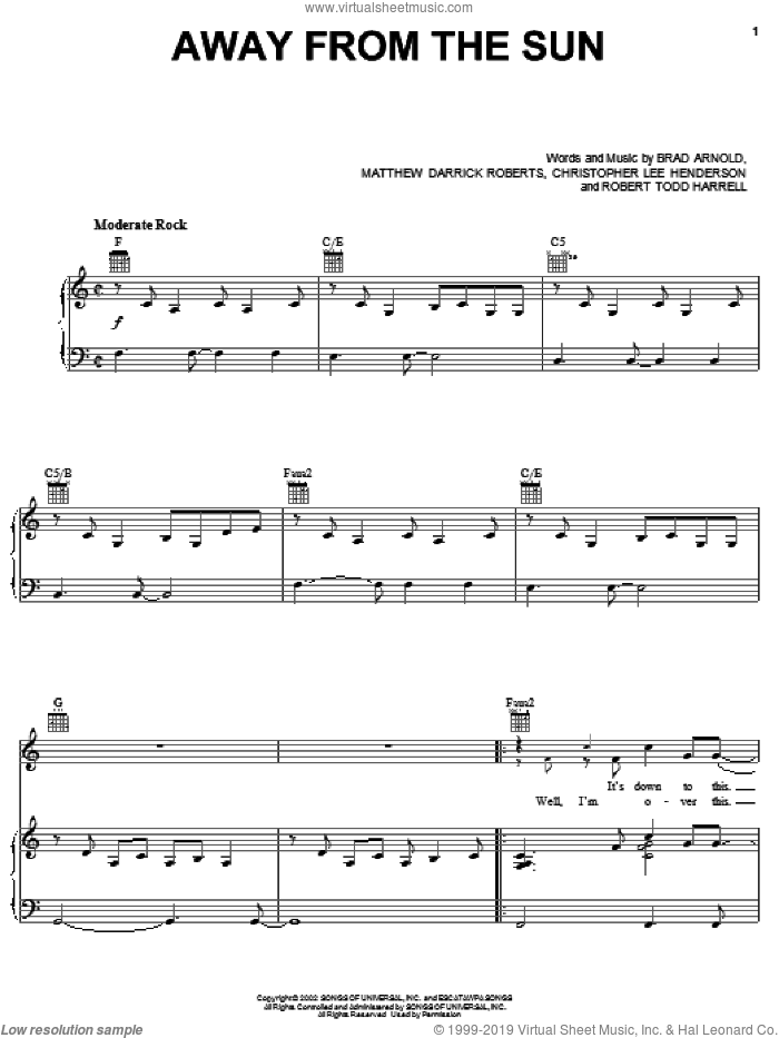 Away From The Sun sheet music for voice, piano or guitar by 3 Doors Down, Brad Arnold, Christopher Henderson, Matt Roberts and Robert Harell, intermediate skill level