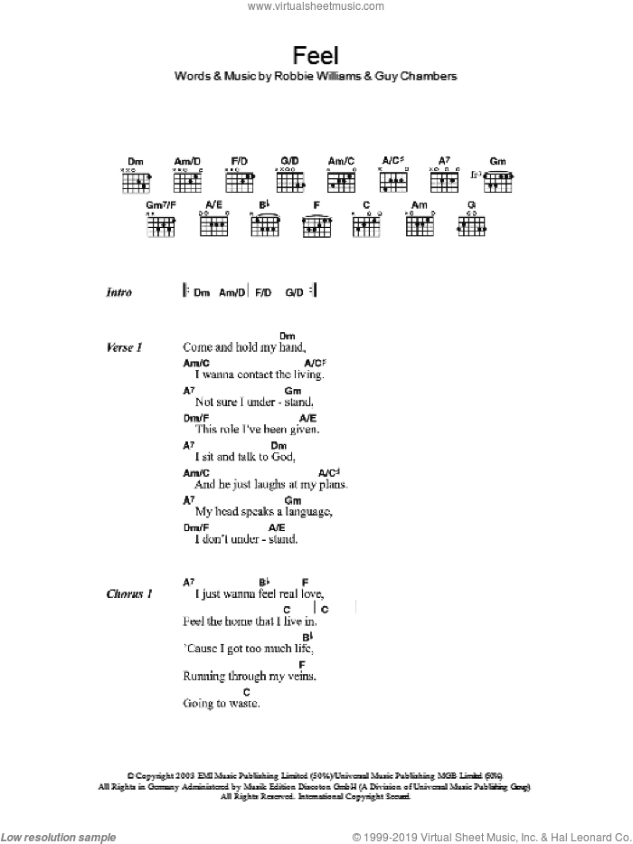 Feel sheet music for guitar (chords) by Guy Chambers and Robbie Williams. Score Image Preview.