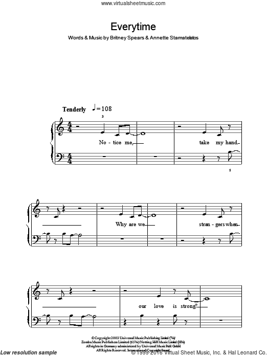 Everytime sheet music for piano solo by Britney Spears. Score Image Preview.