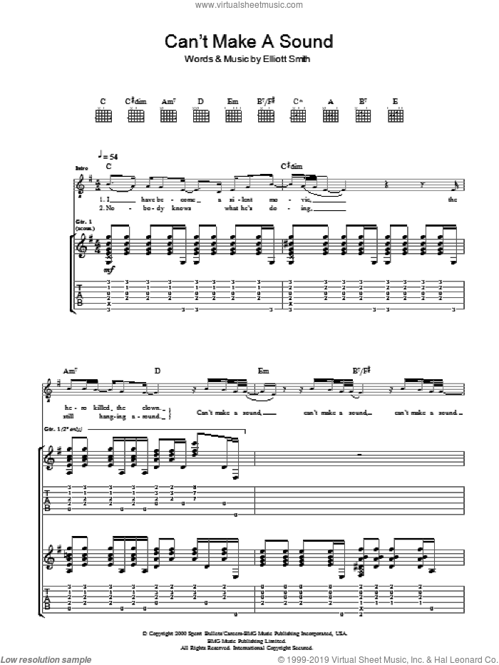 Can't Make A Sound sheet music for guitar (tablature) by Elliott Smith, intermediate. Score Image Preview.