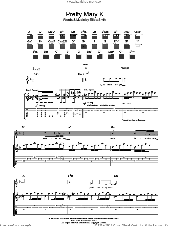 Pretty Mary K sheet music for guitar (tablature) by Elliott Smith. Score Image Preview.