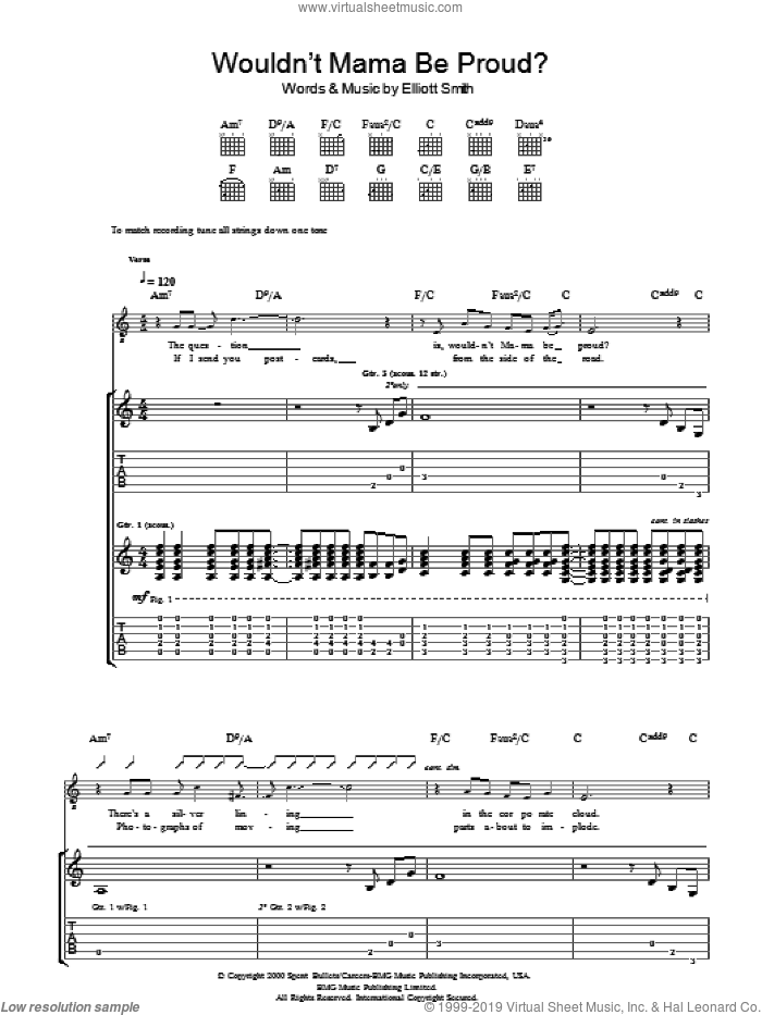 Wouldn't Mama Be Proud? sheet music for guitar (tablature) by Elliott Smith. Score Image Preview.