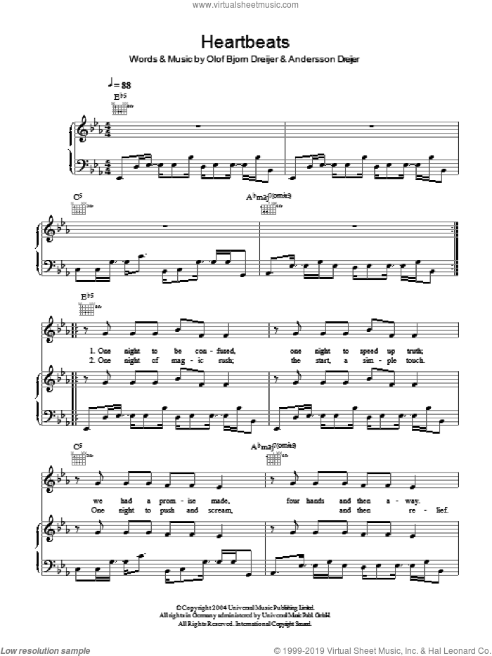 Heartbeats sheet music for voice, piano or guitar by Andersson Dreijer