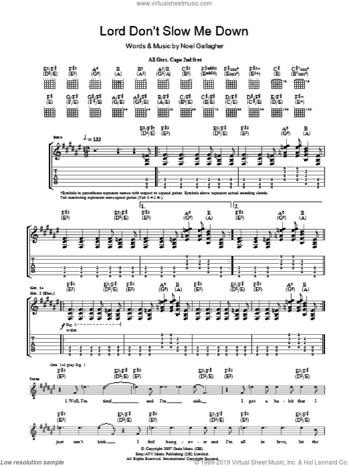 Lord Don't Slow Me Down sheet music for guitar (tablature) by Oasis and Noel Gallagher. Score Image Preview.