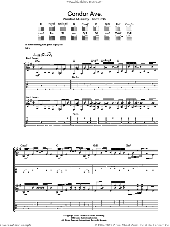 Condor Ave. sheet music for guitar (tablature) by Elliott Smith