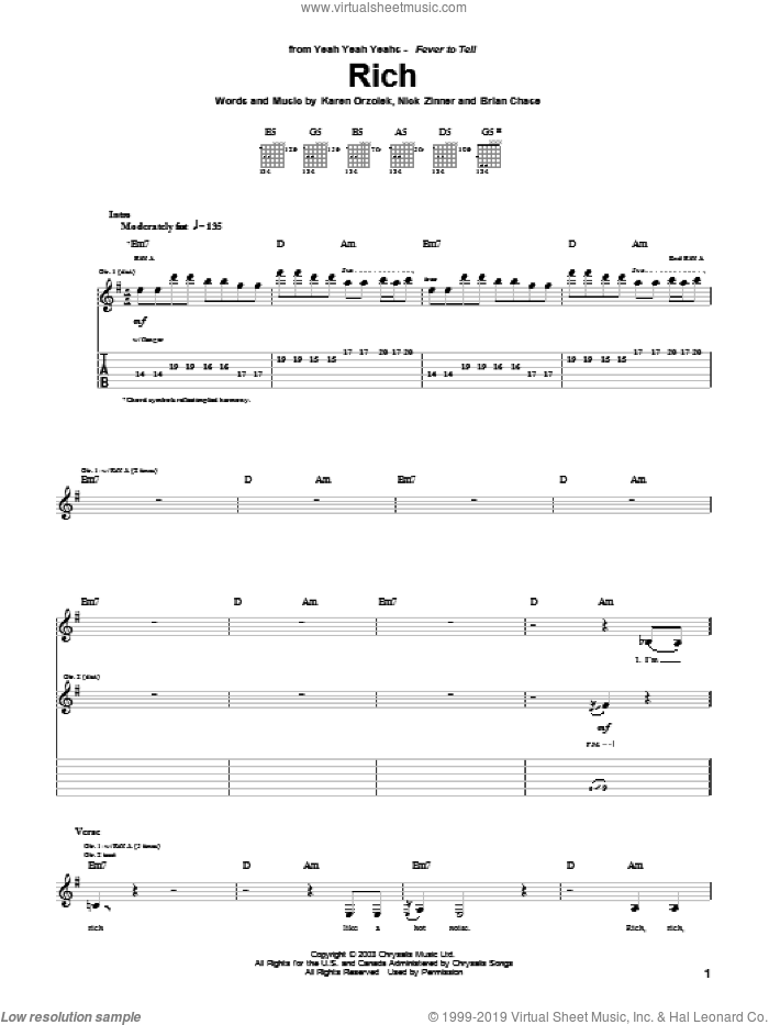 Rich sheet music for guitar (tablature) by Yeah Yeah Yeahs, Brian Chase, Karen Orzolek and Nick Zinner, intermediate skill level