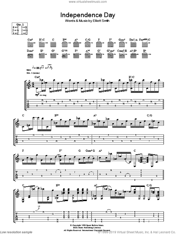 Independence Day sheet music for guitar (tablature) by Elliott Smith. Score Image Preview.