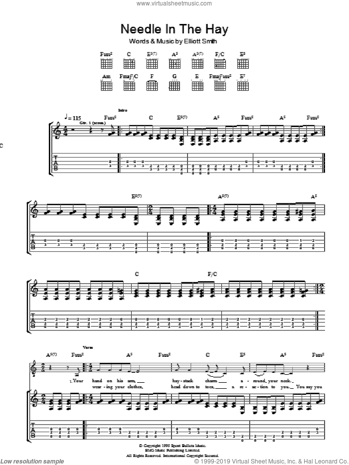 Needle In The Hay sheet music for guitar (tablature) by Elliott Smith, intermediate