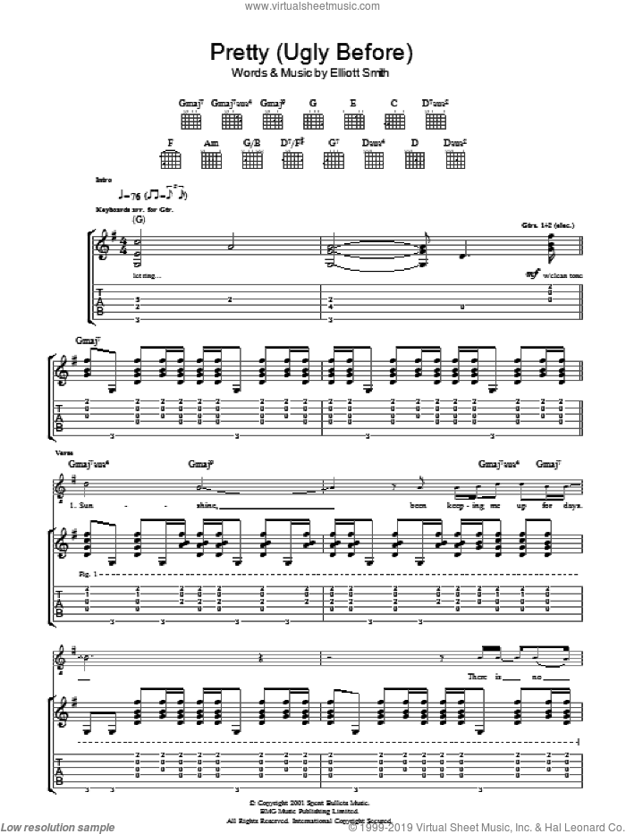 Pretty (Ugly Before) sheet music for guitar (tablature) by Elliott Smith, intermediate