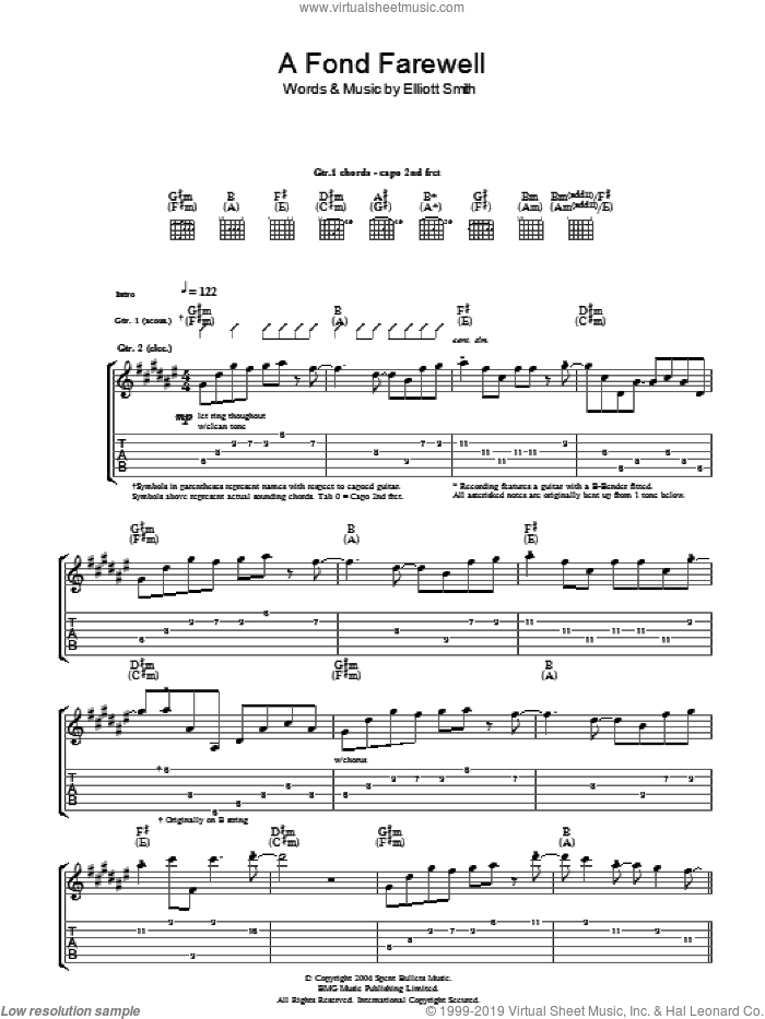 A Fond Farewell sheet music for guitar (tablature) by Elliott Smith, intermediate skill level