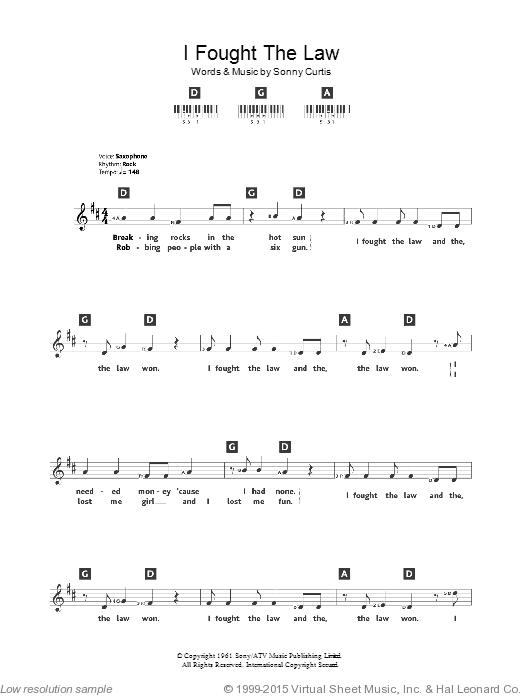 I Fought The Law sheet music for piano solo (chords, lyrics, melody) by Sonny Curtis