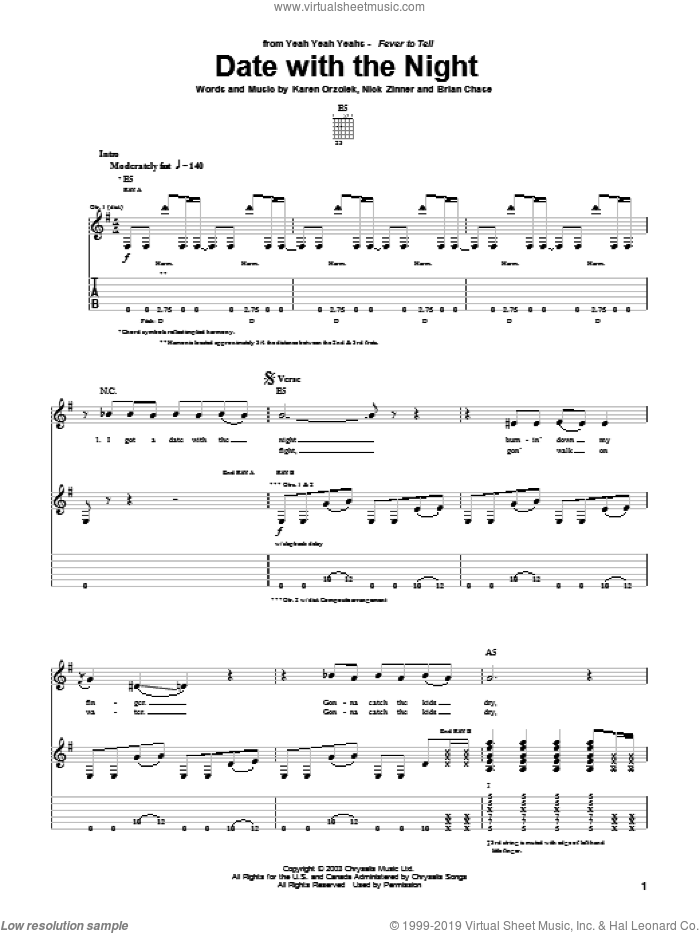 Date With The Night sheet music for guitar (tablature) by Yeah Yeah Yeahs, Brian Chase, Karen Orzolek and Nick Zinner, intermediate. Score Image Preview.