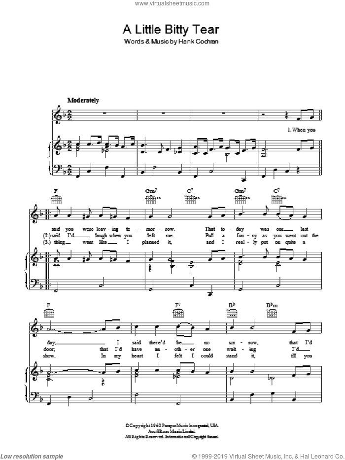 A Little Bitty Tear sheet music for voice, piano or guitar by Hank Cochran. Score Image Preview.