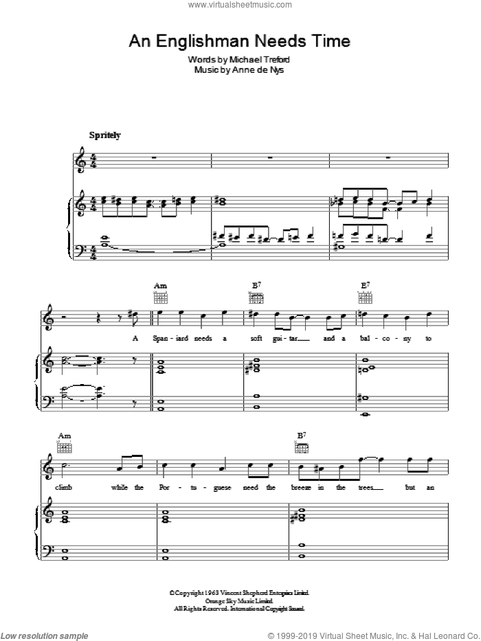 An Englishman Needs Time sheet music for voice, piano or guitar by Anne de Nys