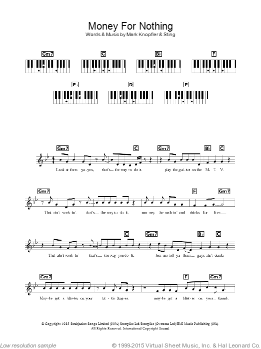 Money For Nothing sheet music for piano solo (chords, lyrics, melody) by Dire Straits