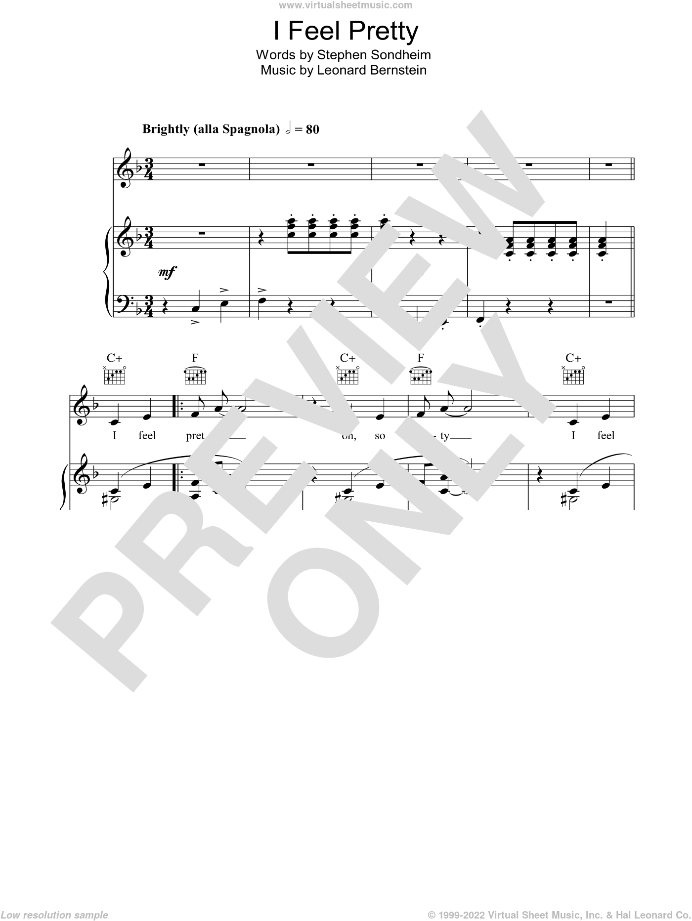 I Feel Pretty sheet music for voice, piano or guitar by Stephen Sondheim and Leonard Bernstein. Score Image Preview.