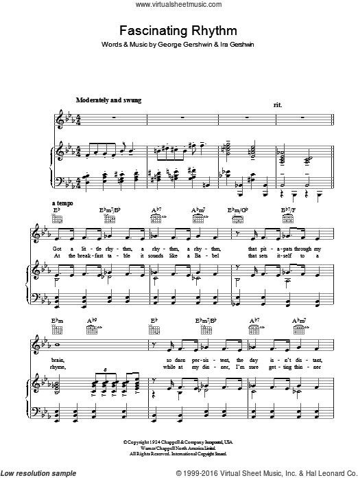 Fascinating Rhythm sheet music for voice, piano or guitar by Ira Gershwin