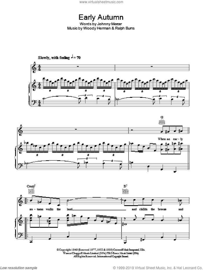 Early Autumn sheet music for voice, piano or guitar by Ralph Burns