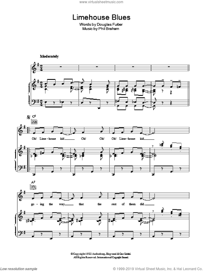 Limehouse Blues sheet music for voice, piano or guitar by Phil Braham, Rosemary Clooney and Douglas Furber. Score Image Preview.