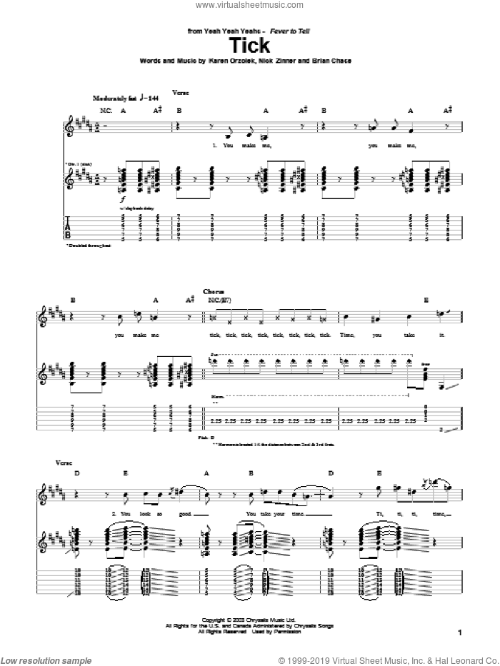 Tick sheet music for guitar (tablature) by Yeah Yeah Yeahs, Brian Chase, Karen Orzolek and Nick Zinner, intermediate skill level