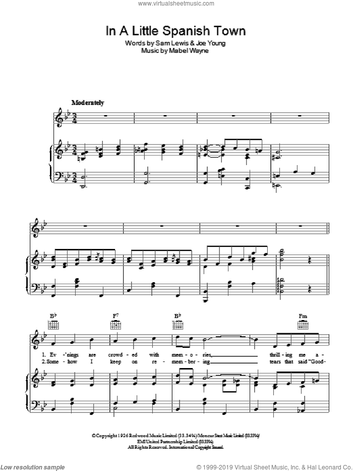 In A Little Spanish Town ('Twas On A Night Like This) sheet music for voice, piano or guitar by Nick Lucas, Mabel Wayne, Joe Young and Sam Lewis, intermediate voice, piano or guitar. Score Image Preview.