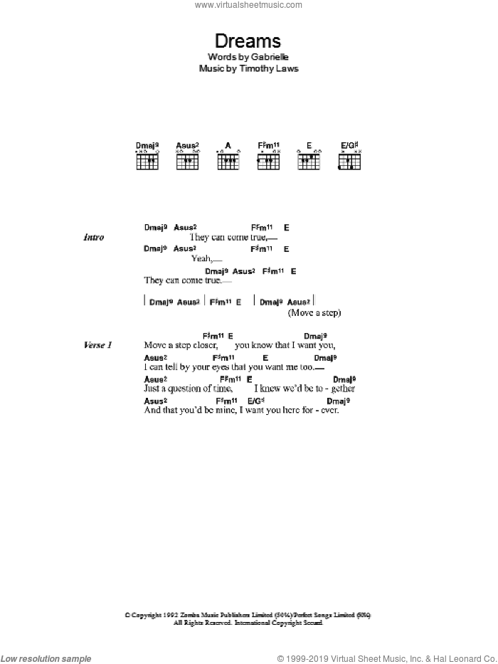 Dreams sheet music for guitar (chords) by Gabrielle. Score Image Preview.