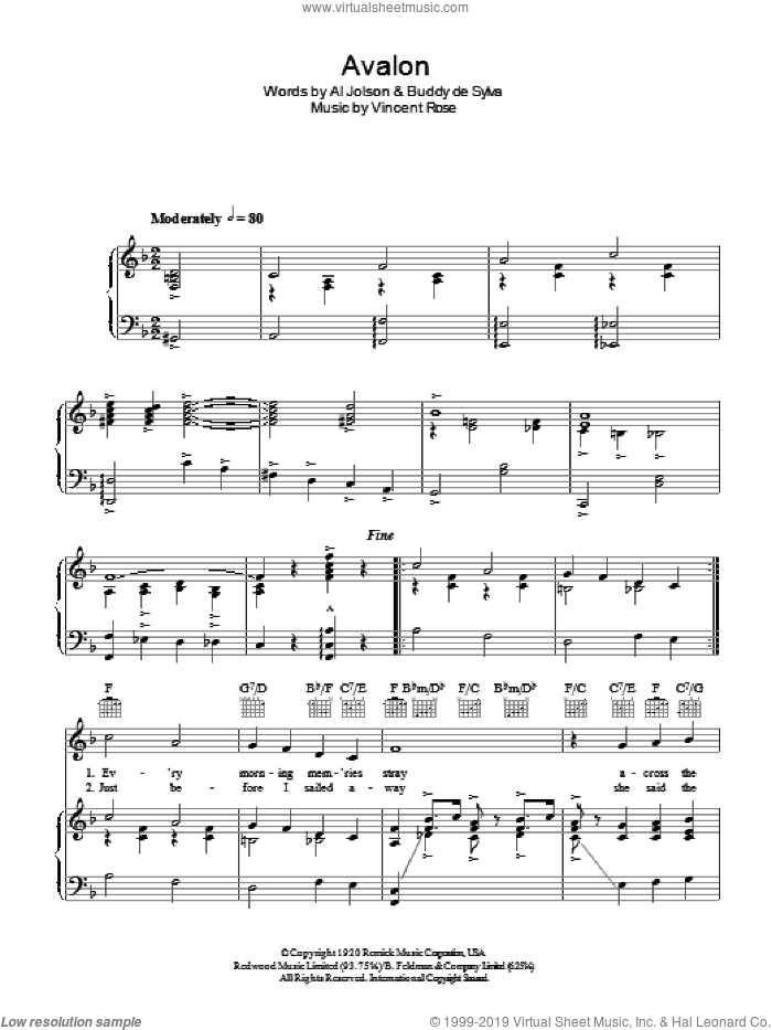 Avalon sheet music for voice, piano or guitar by Vincent Rose